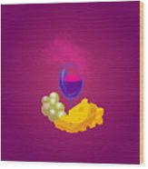 French Cheese And Glass Of Wine Wood Print