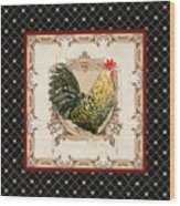 French Country Roosters Quartet Black 3 Wood Print