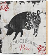 French Farm Sign Piglet Wood Print