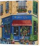 French Flower Shop Wood Print