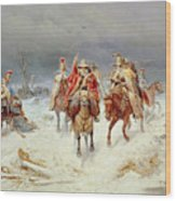 French Forces Crossing The River Berezina In November 1812 Wood Print