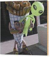 French Fried Alien Wood Print