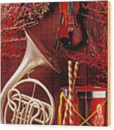 French Horn Christmas Still Life Wood Print