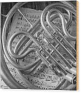 French Horn In Black And White Wood Print