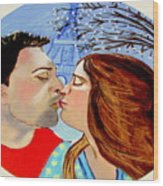 French Kissing At The Eiffel Tower Wood Print