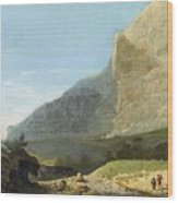 French Master 1st Half Of Th 19th Century   Rocky Cliff Off Shore Wood Print