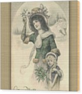 French Mother And Child Christmas Card Wood Print
