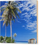 French Polynesia, Beach Wood Print