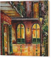 French Quarter Alley Wood Print