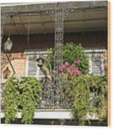 French Quarter Balcony Wood Print
