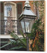 French Quarter Courtyard Wood Print