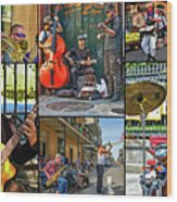 French Quarter Musicians Collage Wood Print