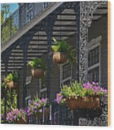 French Quarter Sunlit Balcony - New Orleans Wood Print