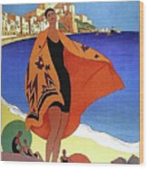 French Riviera, Woman On The Beach, Paris, Lyon, Mediterranean Railway Wood Print