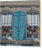 Shuttered Windows And Flowers Wood Print