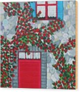 French Stone House And Rose Trellis Wood Print