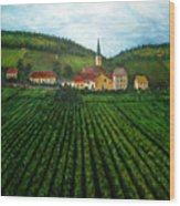 French Village In The Vineyards Wood Print