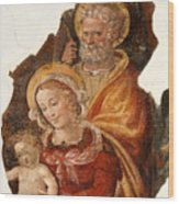 Fresco Holy Family Wood Print