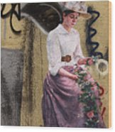 Frescoe Painting Of A Woman In Traditional Dress With Flowers Am Wood Print