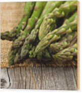 Fresh Asparagus On Napkin And Rustic Wood  Wood Print