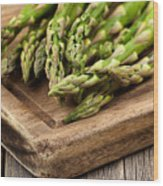 Fresh Asparagus On Rustic Wooden Server Board Wood Print
