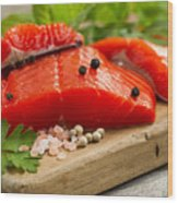 Fresh Copper River Salmon Fillets On Rustic Wooden Server With S Wood Print