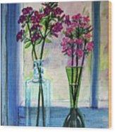 Fresh Cut Flowers In The Window Wood Print