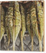 Fresh Grilled Asian Fish In Kep Market Cambodia Wood Print