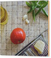 Fresh Italian Cooking Ingredients On Tile Wood Print