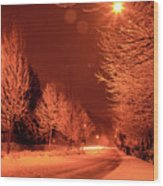 Fresh Morning Snow Wood Print