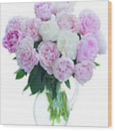 Vase Of Peonies Wood Print