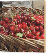 Fresh Picked Cherries In A Wicker Basket In Dolnje Cerovo In The Wood Print