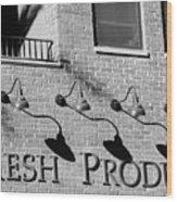 Fresh Produce Signage Black And White Wood Print