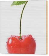 Fresh Red Cherry Isolated On White Wood Print
