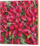 Fresh Red Radishes Wood Print