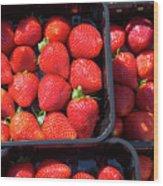 Fresh Ripe Strawberries In Plastic Boxes Wood Print