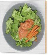 Fresh Seafood Salad With Smoked Salmon Wood Print