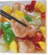 Fresh Shrimp And Peppers On White Serving Plate Ready To Eat Wood Print
