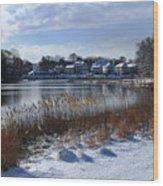 Fresh Snow Along The Creek Wood Print