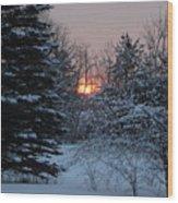 Fresh Snow At Sunrise Wood Print