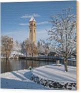 Fresh Snow In Riverfront Park - Spokane Washington Wood Print by Daniel Hagerman