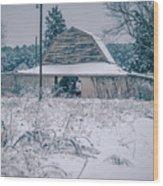 Fresh Snow Sits On The Ground Around An Old Barn Wood Print