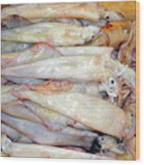 Fresh Squid On A Market Stall Wood Print