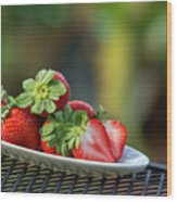Fresh Strawberries Wood Print