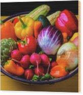 Fresh Vegetables In Lovely Basket Wood Print