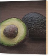 Fresh Whole And Half Avocado Wood Print