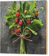 fresh Wild strawberries on wooden background  Wood Print