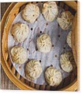 Freshly Cooked Dumplings Inside Of Bamboo Steamer Ready To Eat  Wood Print