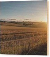 Freshly Harvested Fields Of Barley In Countryside Landscape Bath Wood Print
