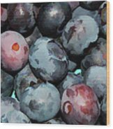 Freshly Picked Blueberries Wood Print